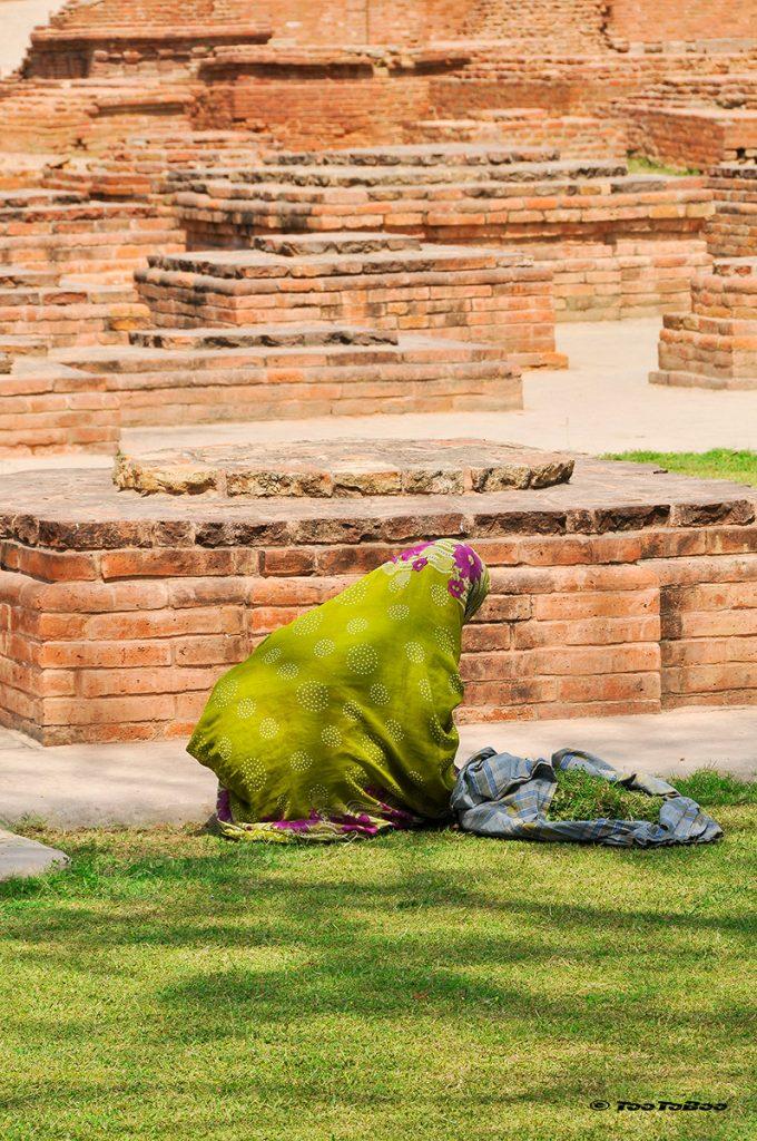 Femmes travaillant dans les allées du site de Sarnath
