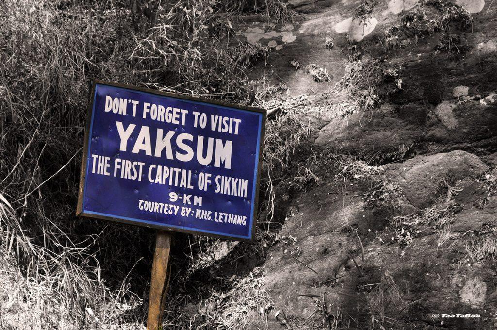 Panneau situant l'arrivée au Sikkim