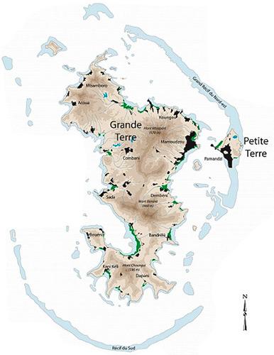 Configuration de l'ile de Mayotte avec Grande Terre et Petite Terre